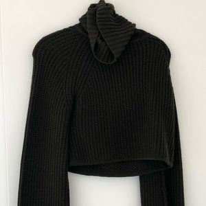 ALC Cropped cashmere sweater with bell sleeve